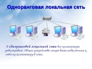 Одноранговая локальная сеть В одноранговой локальной сети все компьютеры равн
