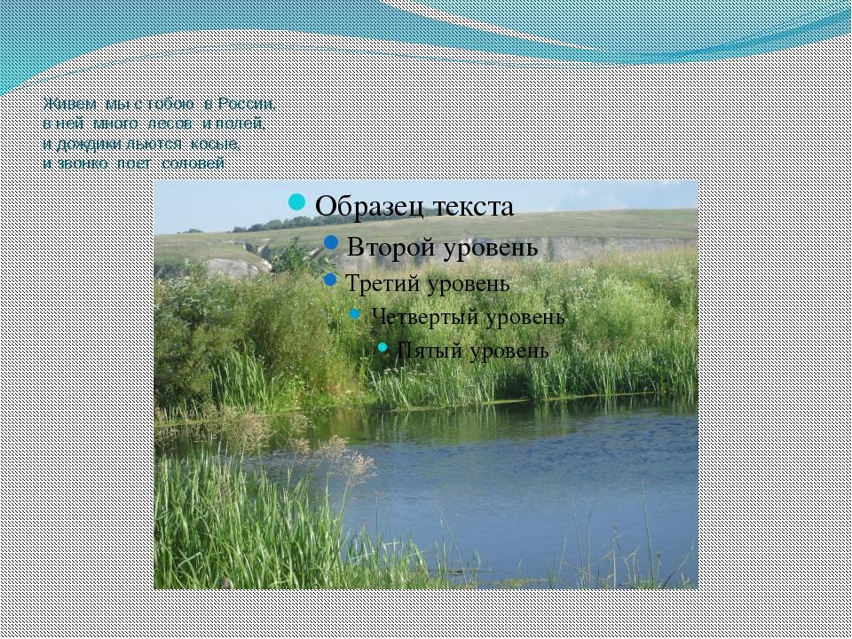 Живем мы с тобою в России, в ней много лесов и полей, и дождики льются косые,...