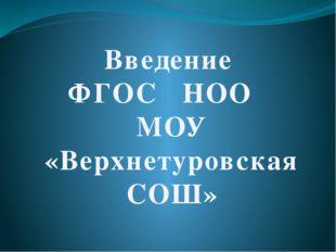 Введение ФГОС НОО МОУ «Верхнетуровская СОШ»