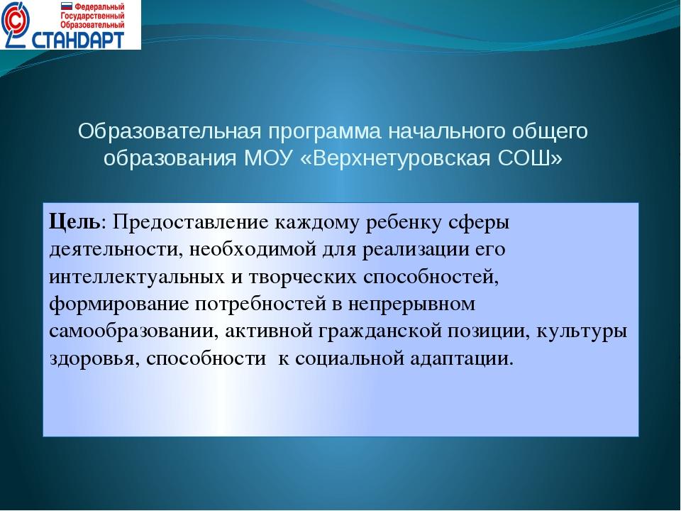 Образовательная программа начального общего образования МОУ «Верхнетуровская...