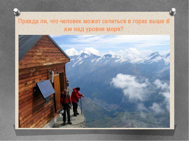 Правда ли, что человек может селиться в горах выше 6 км над уровня моря?