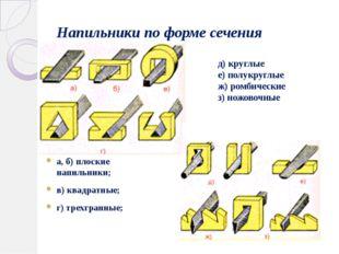 Напильники по форме сечения а, б) плоские напильники; в) квадратные; г) трехг