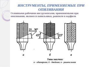 ИНСТРУМЕНТЫ, ПРИМЕНЯЕМЫЕ ПРИ ОПИЛИВАНИИ Основными рабочими инструментами, при