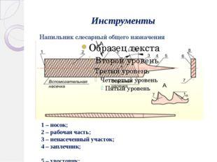 Инструменты Напильник слесарный общего назначения 1 – носок; 2 – рабочая част