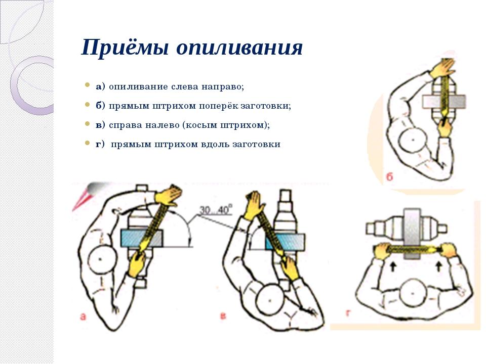 Приёмы опиливания а) опиливание слева направо; б) прямым штрихом поперёк заго...