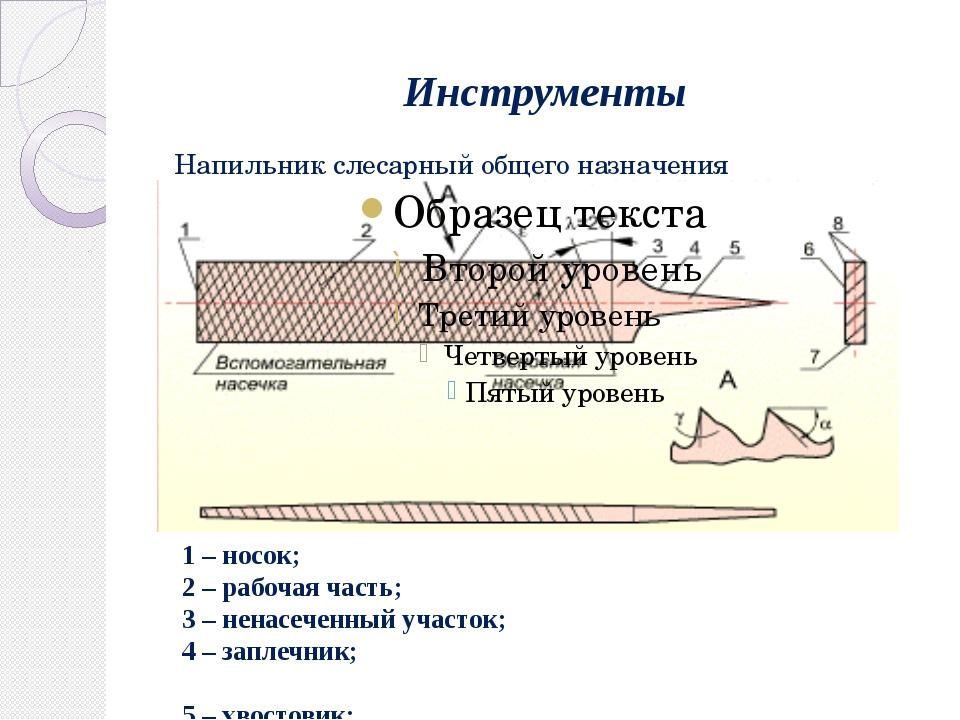 Инструменты Напильник слесарный общего назначения 1 – носок; 2 – рабочая част...