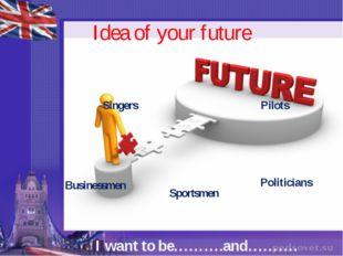 Idea of your future Singers Pilots Politicians Sportsmen Businessmen I want t