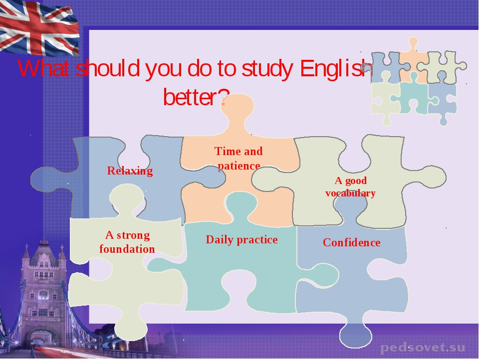 What should you do to study English better? Time and patience Relaxing Confid...