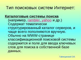 Тип поисковых систем Интернет: Каталоговые системы поиска (например, rambler,