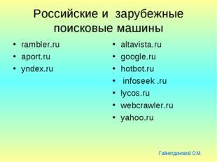 Российские и зарубежные поисковые машины rambler.ru aport.ru yndех.ru altavis