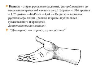 19.1.13 Вершок - старая русская мера длины, употреблявшаяся до введения метри