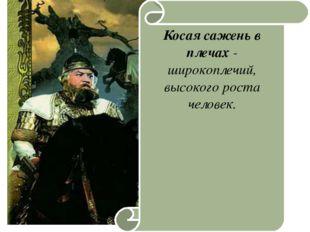 19.1.13 Косая сажень в плечах - широкоплечий, высокого роста человек.