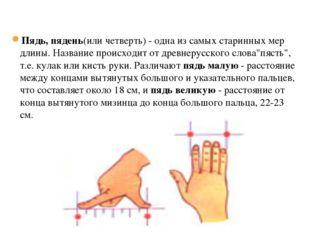 19.1.13 Пядь, пядень(или четверть) - одна из самых старинных мер длины. Назва