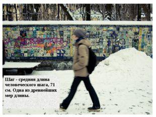 19.1.13 Шаг - средняя длина человеческого шага, 71 см. Одна из древнейших мер
