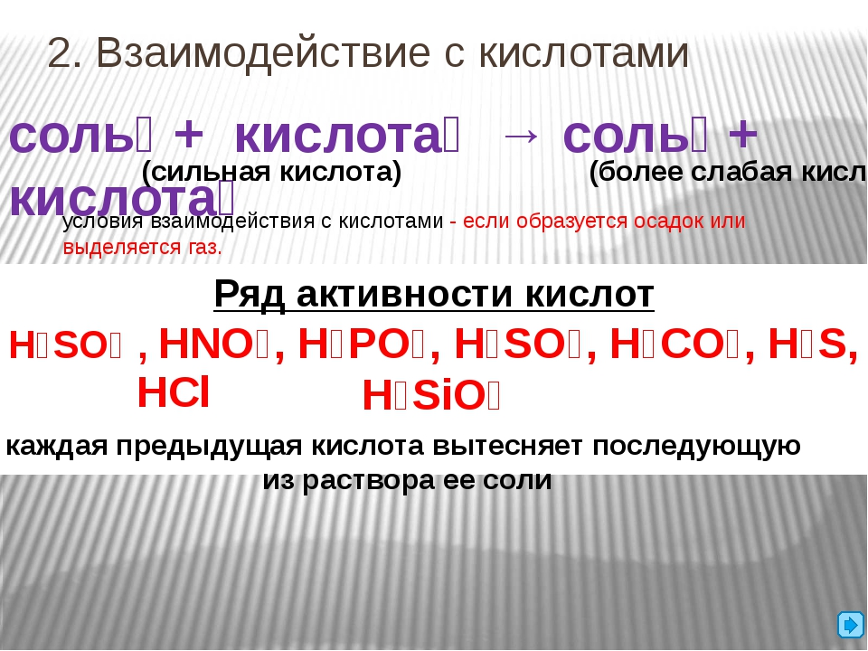 2. Взаимодействие с кислотами