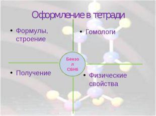 Оформление в тетради Гомологи Бензол С6Н6 Формулы, строение Физические свойст