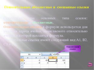 При перемещении или копировании формулы из активной ячейки относительные ссыл