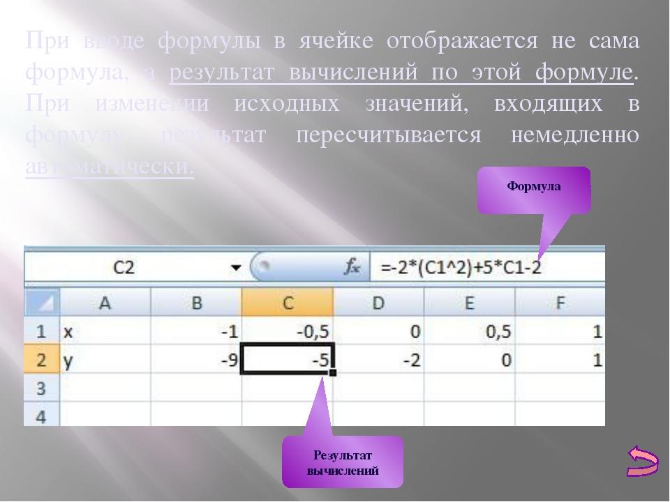 При вводе формулы в ячейке отображается не сама формула, а результат вычислен...