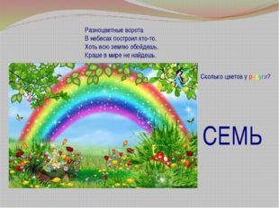 Разноцветные ворота В небесах построил кто-то. Хоть всю землю обойдешь, Краш