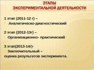 1 этап (2011-12 г) – Аналитическо-диагностический 2 этап (2012-13г) – Организ