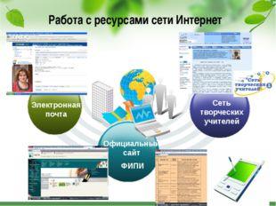 Работа с ресурсами сети Интернет Сеть творческих учителей Официальный сайт Ф
