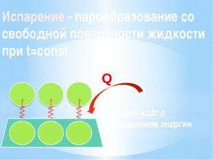 Испарение - парообразование со свободной поверхности жидкости при t=const Про