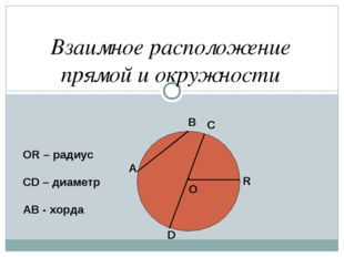 Взаимное расположение прямой и окружности . О А В С D R ОR – радиус СD – диам
