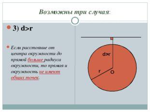 Возможны три случая: 3) d>r Если расстояние от центра окружности до прямой бо