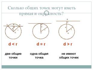 Сколько общих точек могут иметь прямая и окружность? d < r d = r d > r две об