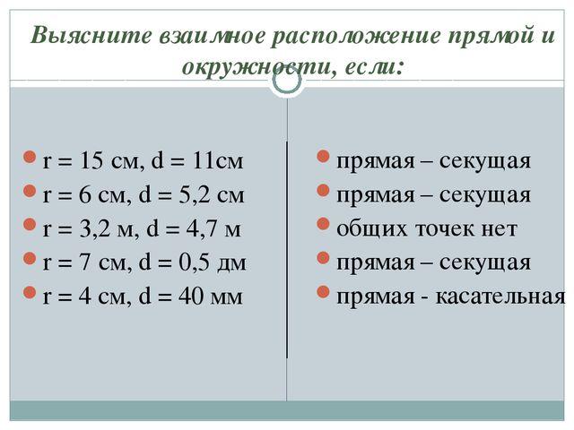 Выясните взаимное расположение прямой и окружности, если: r = 15 см, d = 11см...