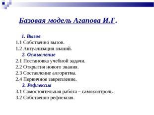 Базовая модель Агапова И.Г.  1. Вызов 1.1 Собственно вызов. 1.2 Актуализа