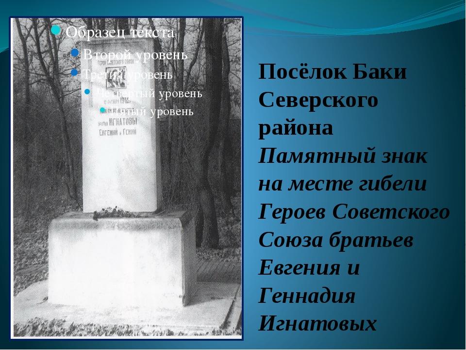 Посёлок Баки Северского района Памятный знак на месте гибели Героев Советског...