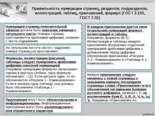 Правильность нумерации страниц, разделов, подразделов, иллюстраций, таблиц, п