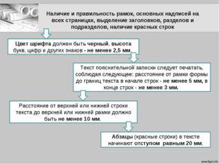 Наличие и правильность рамок, основных надписей на всех страницах, выделение