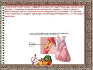 Курение часто вызывает атеросклероз – сужение просвета кровеносных сосудов.