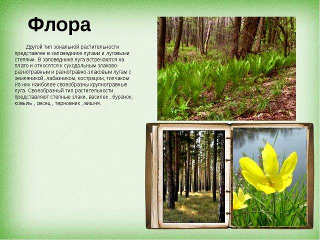 Флора Другой тип зональной растительности представлен в заповеднике лугами и...