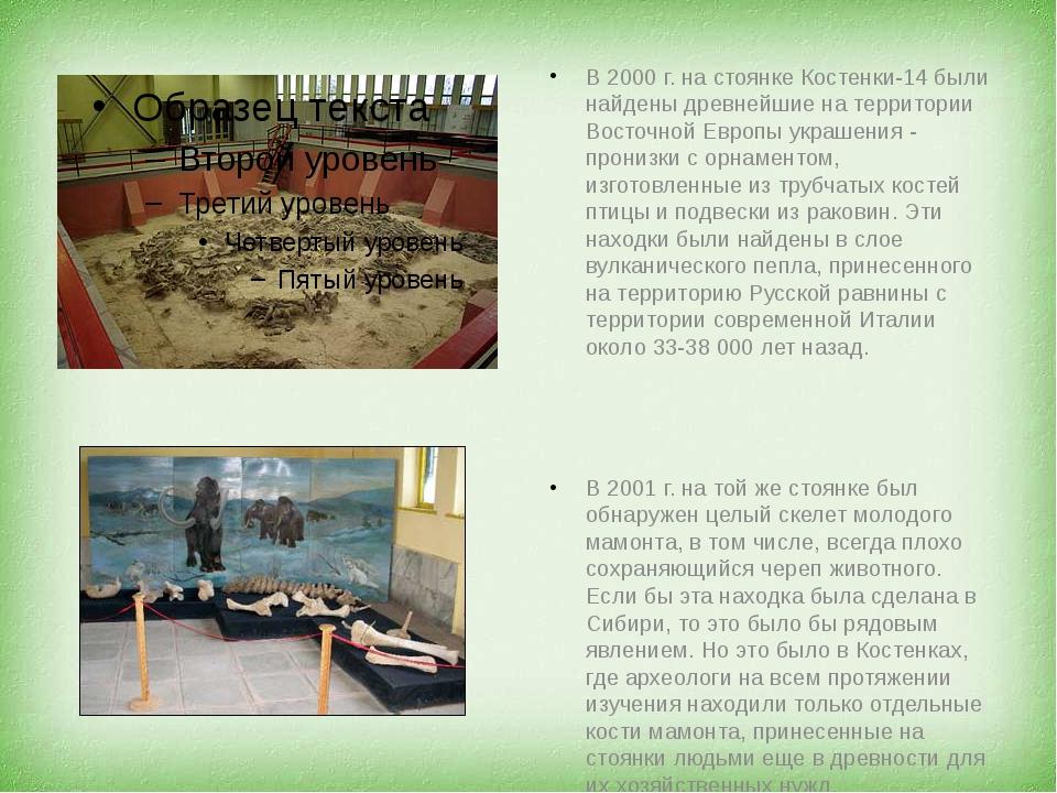 В 2000 г. на стоянке Костенки-14 были найдены древнейшие на территории Восто...