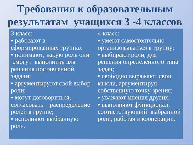 Требования к образовательным результатам учащихся 3 -4 классов 3 класс: работ...