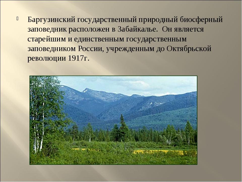 Баргузинский государственный природный биосферный заповедник расположен в Заб...