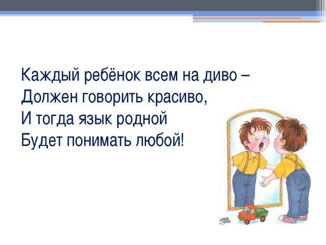 Каждый ребёнок всем на диво – Должен говорить красиво, И тогда язык родной Бу...