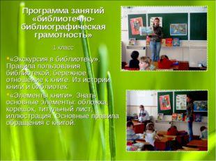 Программа занятий «библиотечно-библиографическая грамотность» 1 класс «Экскур