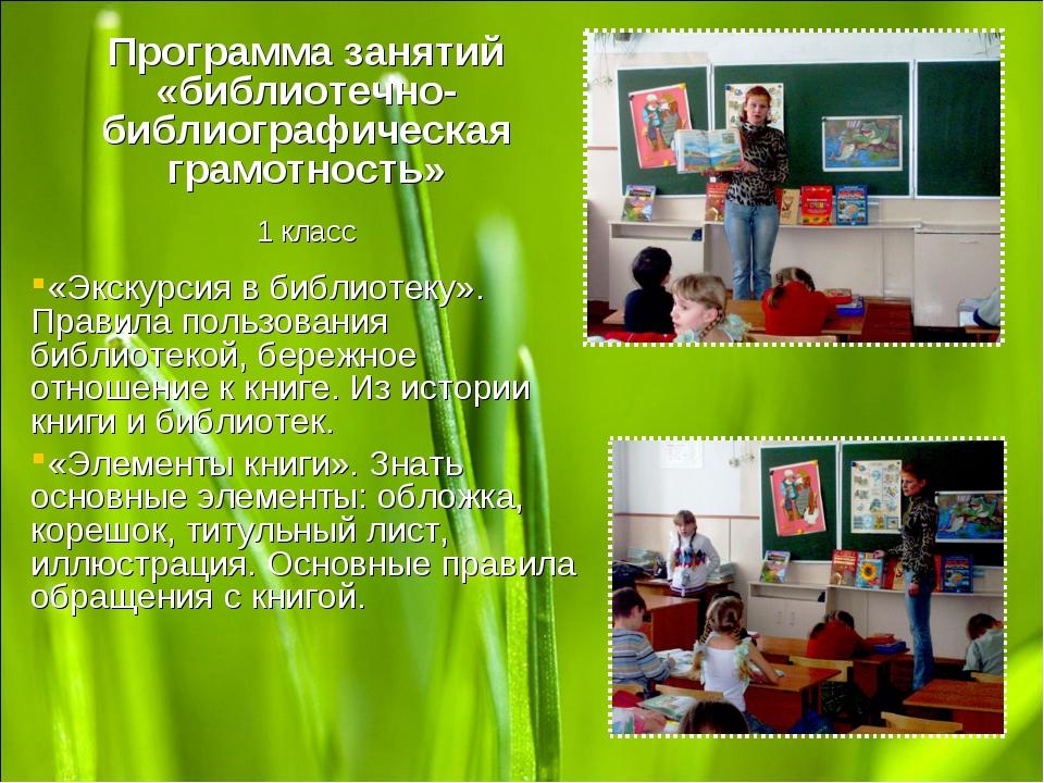 Программа занятий «библиотечно-библиографическая грамотность» 1 класс «Экскур...