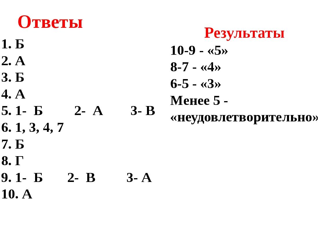 Ответы Б А Б А 1- Б 2- А 3- В 1, 3, 4, 7 Б Г 1- Б 2- В 3- А А Результаты 10-9...
