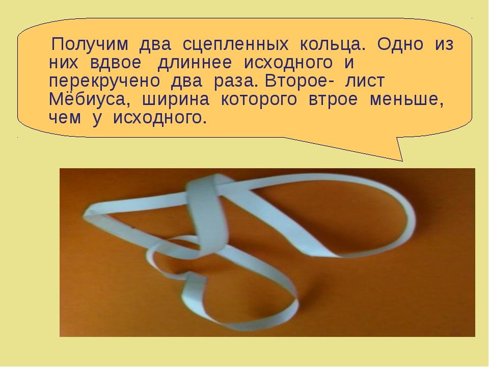 Получим два сцепленных кольца. Одно из них вдвое длиннее исходного и перекру...