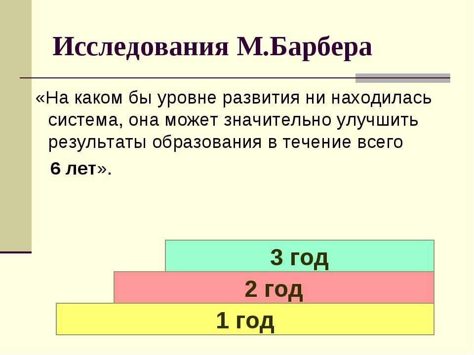 ИсследованияМ.Барбера «Накакомбыуровнеразвитияни находилась система,о...