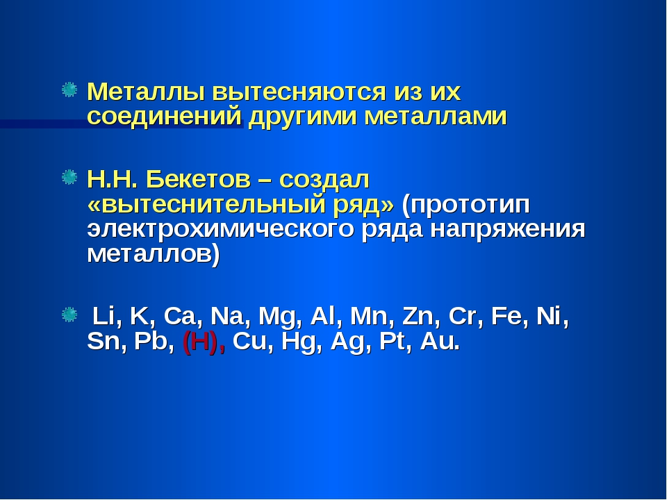 Металлы вытесняются из их соединений другими металлами Н.Н. Бекетов – создал...