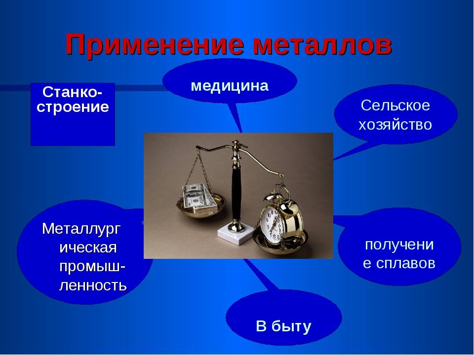 Применение металлов Станко- строение медицина Сельское хозяйство получение с...