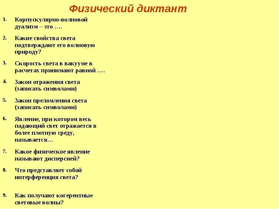 Физический диктант 1.Корпускулярно-волновой дуализм – это …. 2.Какие свойс...