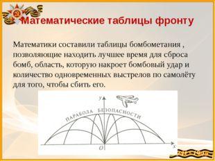 Математические таблицы фронту Математики составили таблицы бомбометания , поз