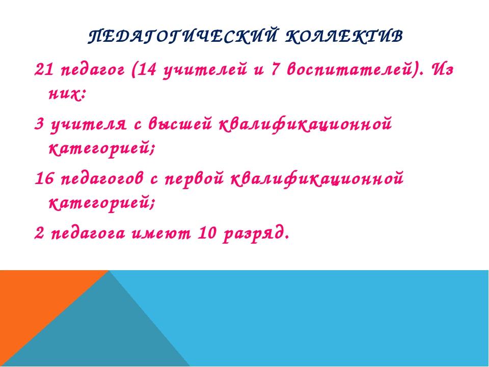 ПЕДАГОГИЧЕСКИЙ КОЛЛЕКТИВ 21 педагог (14 учителей и 7 воспитателей). Из них: 3...